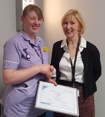 Emma Pollock pictured with Mrs Sandra Dodson, Chairman