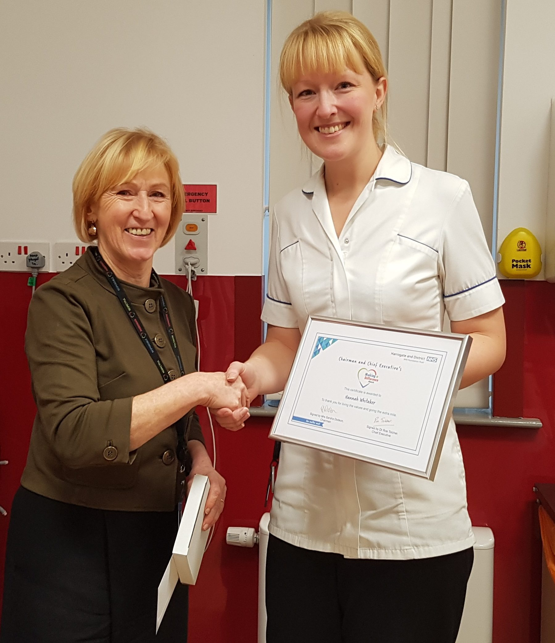 Hannah Whitaker pictured with Mrs Sandra Dodson, Chairman