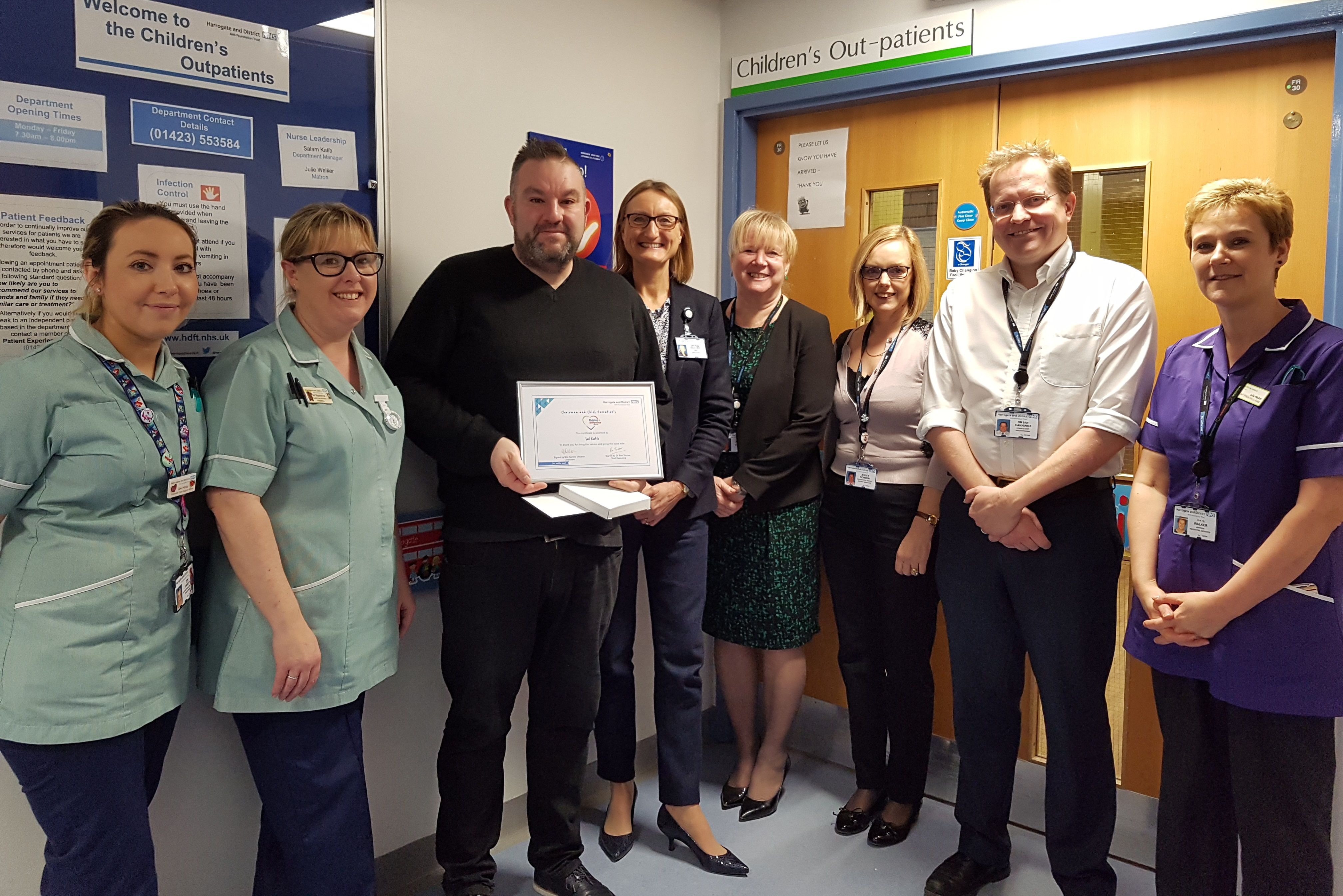 Sal Katib pictured with colleagues from Paediatric Services