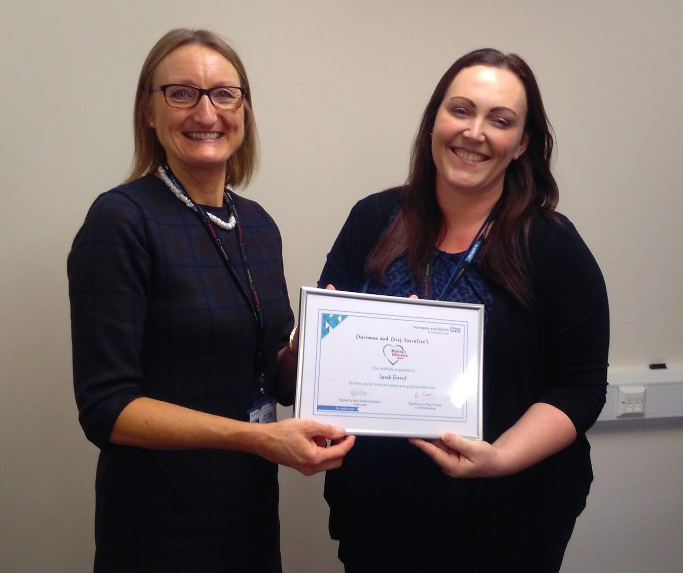 Sarah Forrest pictured with Dr Ros Tolcher, Chief Executive