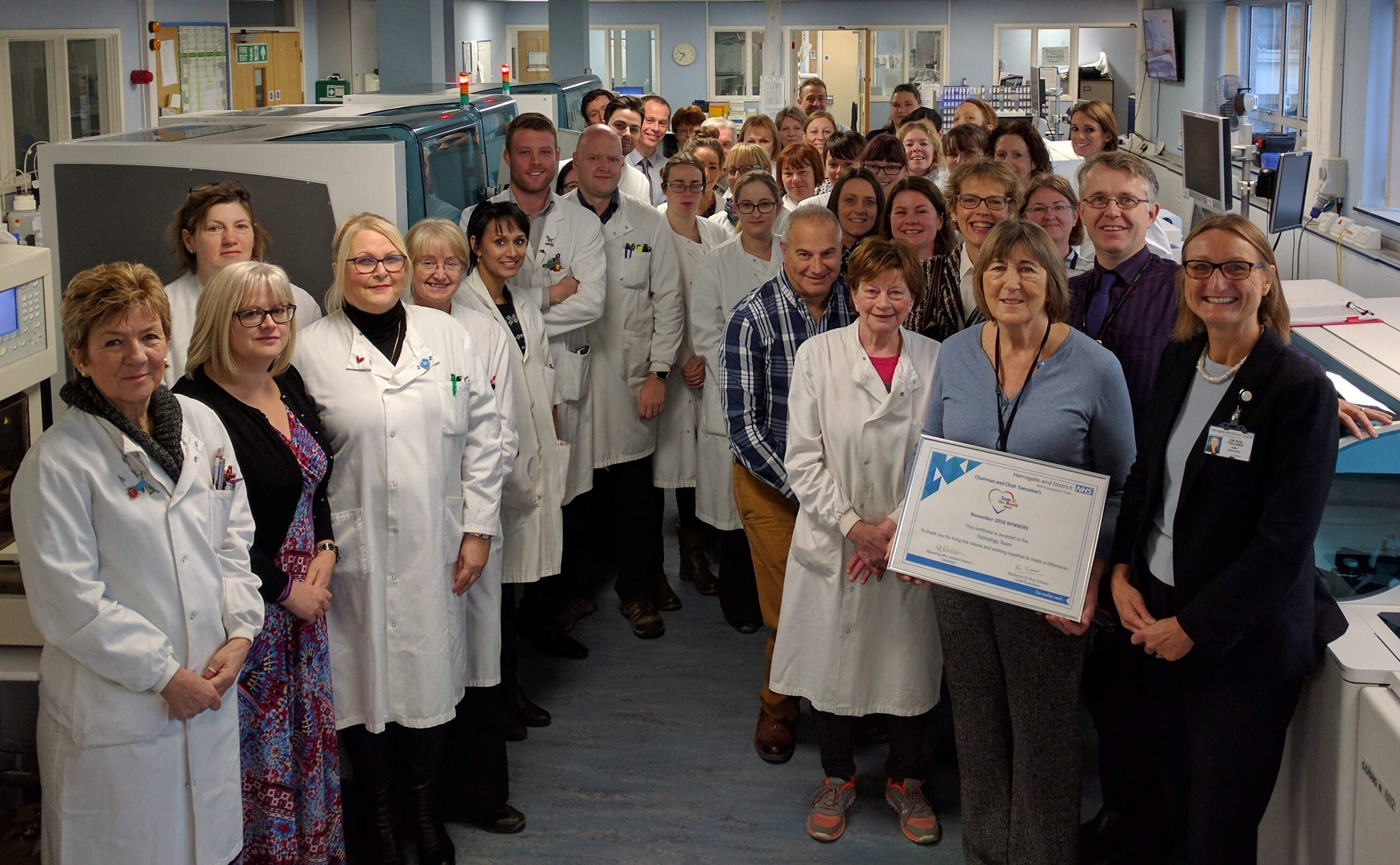 November Team of the Month winners, Pathology presented with their award.